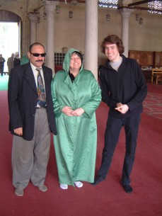 me mum and taxi driver in mosque